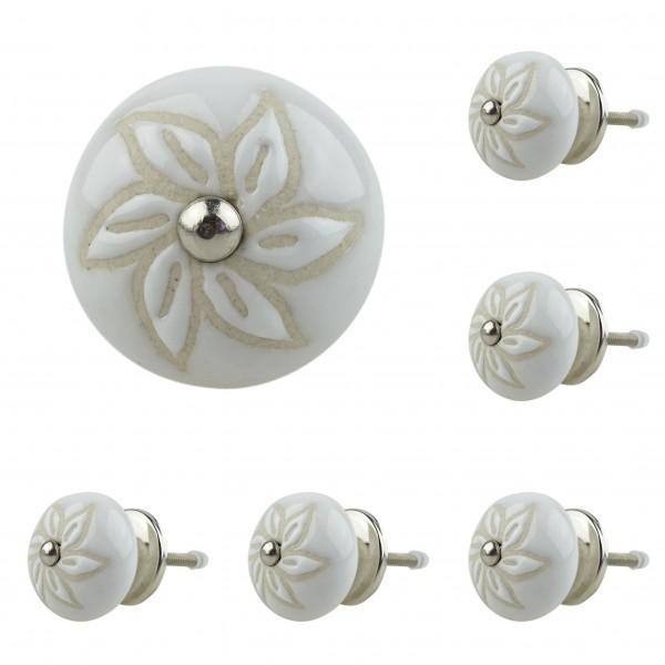 Jay Knopf 6er Möbelknopf Set 045GN Perforiert Blume Beige Weiß - Vintage Möbelknauf
