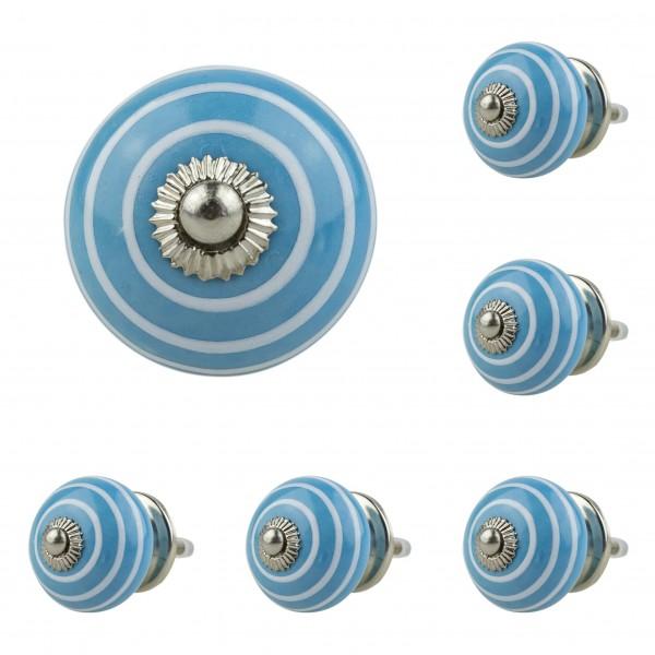 Jay Knopf 6er Möbelknopf Set 035GN Kreise Weiß Blau - Vintage Möbelknauf