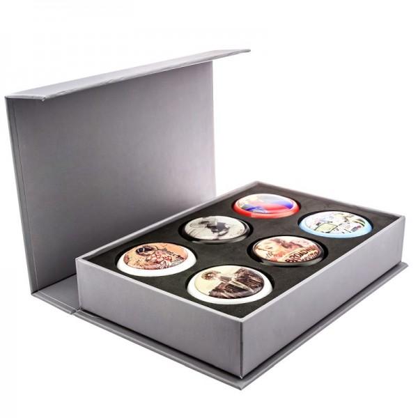 Geschenke Box für 6 Möbelknöpfe oder 18 Magnete