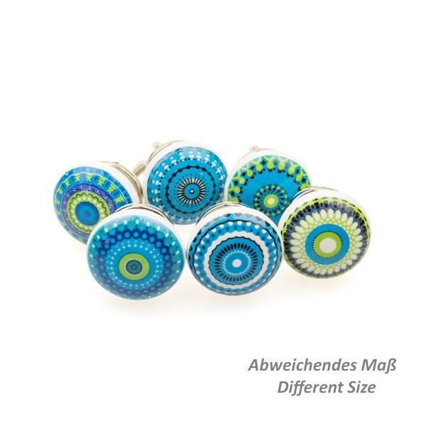 Jay Knopf 6er Möbelknopf Set 101GN Blau Transferprinting Mosaik Mandala Muster
