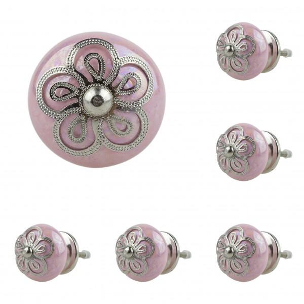 Jay Knopf 6er Möbelknopf Set 025GN Edel Designer Rosette Rosa - Vintage Möbelknauf