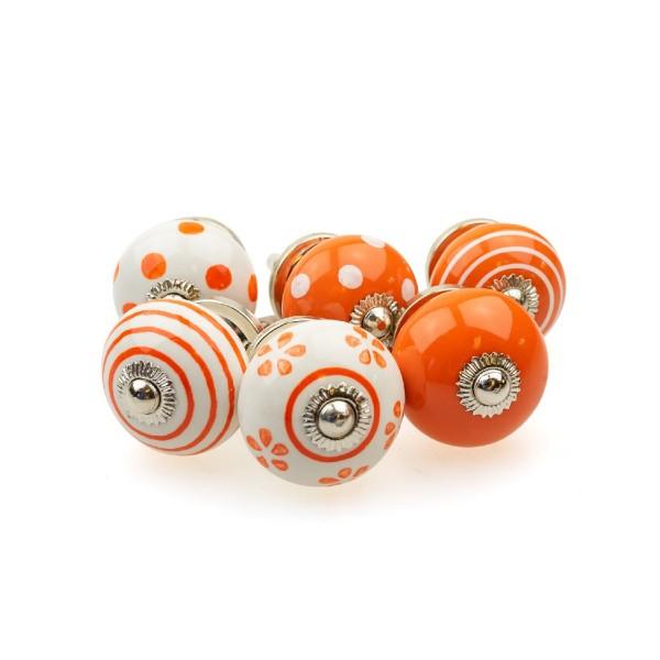 Jay Knopf 6er Möbelknopf Set 089GN Orange Punkte Tupfer Kreise