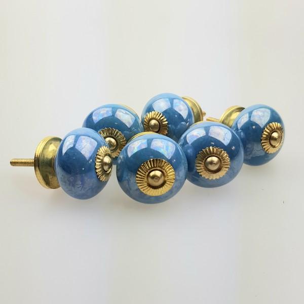 Jay Knopf 6er Möbelknopf Set 130GN Blau metalic schimmernd