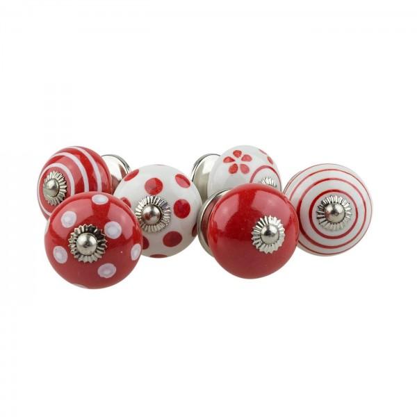 Jay Knopf 6er Möbelknopf Set 070GN Punkte Kreise Tupfer Weiß Rot - Vintage Möbelknauf