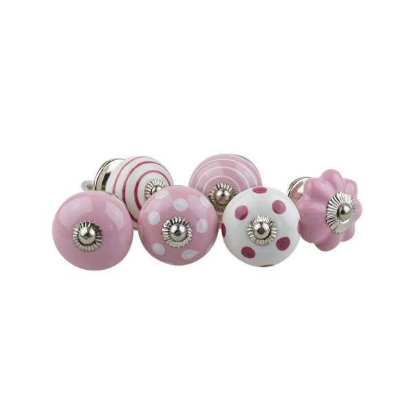 Jay Knopf 6er Möbelknopf Set 064GN Pumpkin Blume Kreise Punkte Weiß Rosa Pink