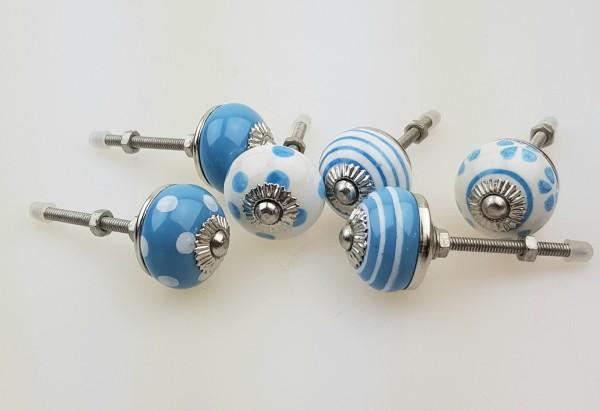 Jay Knopf 6er Möbelknopf Set 082GN_SM blau mix klein - Vintage Möbelknauf