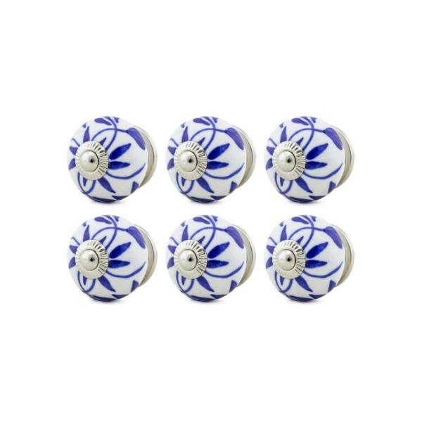 Jay Knopf 6er Möbelknopf Set 060GN Muster Blau Weiß