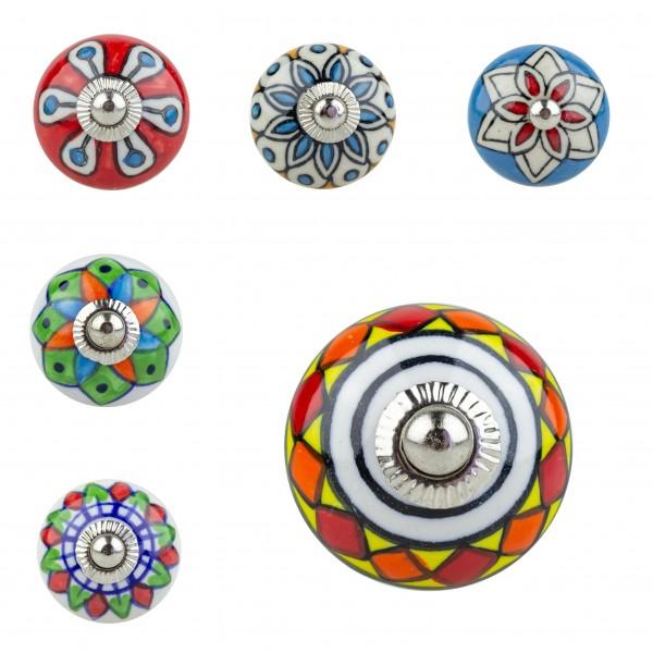 Jay Knopf 6er Möbelknopf Set Nr. 648 bunt Mandala