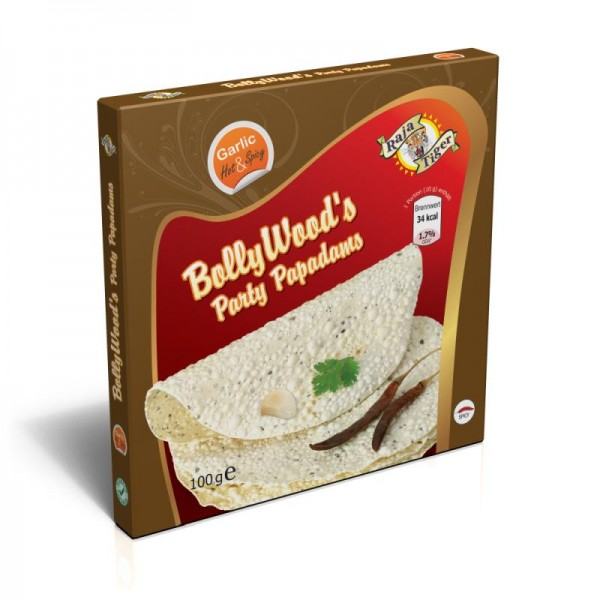 BollyWood's Party Papadams Garlic - Hot & Spicy