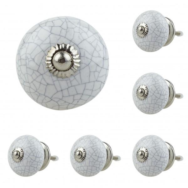 Jay Knopf 6er Möbelknopf Set 040GN Crakle Splitteroptik Grau Weiß - Vintage Möbelknauf