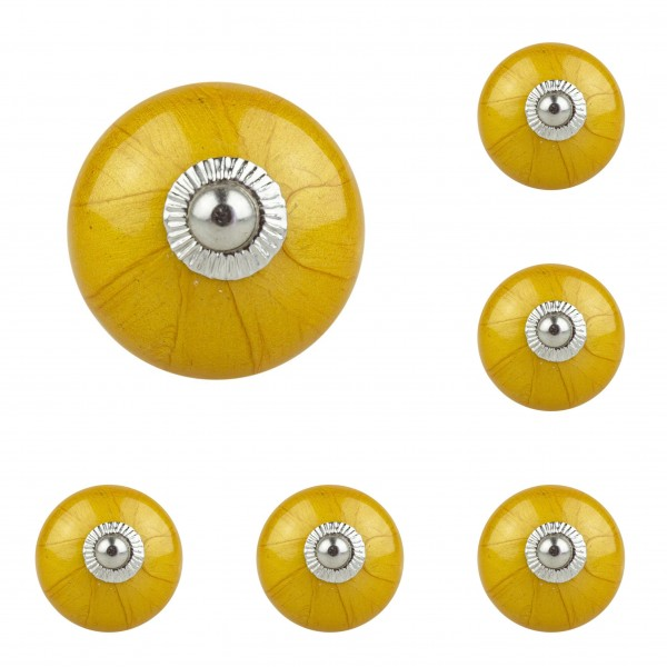 Jay Knopf 6er Möbelknopf Set 066 JKGH gelb gold