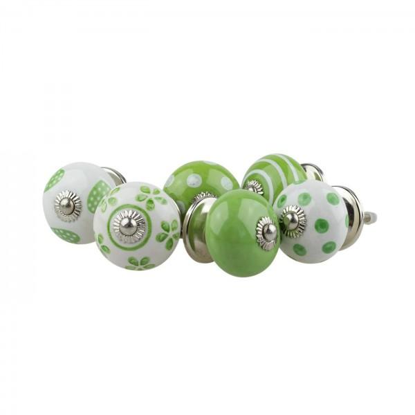 Jay Knopf 6er Möbelknopf Set 062GN Punkte Tupfer Kreise Herz Grün Weiß - Vintage Möbelknauf