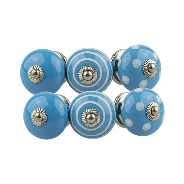 Jay Knopf 6er Möbelknopf Set 081GN Punkte Kreise Weiß Blau